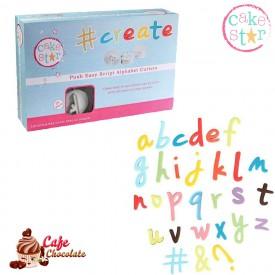 Wycinarki Alfabet Małe Litery Pismo Odręczne Tłoczek Cake Star