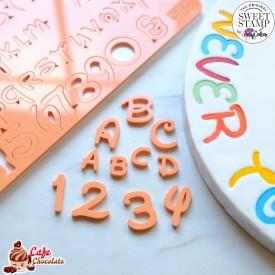 Stempelki Alfabet Styl Bajkowe LITERY + CYFRY MAŁE