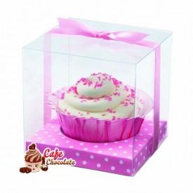 Pudełka na muffinki Różowe z Kopułą 20 szt