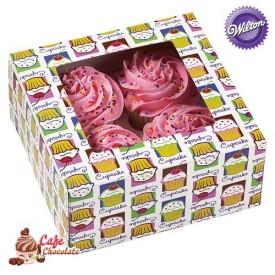 Pudełka na 4 muffiny z okienkiem Babeczki Wilton