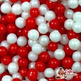 Perełki Mix Biało Czerwone nabłyszczane 5 mm