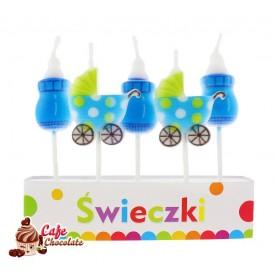 Świeczki Pikery Baby Blue 5 szt