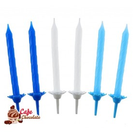 Świeczki Biało Niebieskie 24 szt