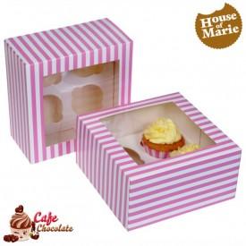 Pudełka na 4 muffiny z okienkiem Różowe Paski HoM