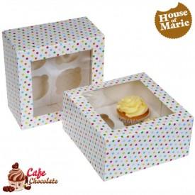 Pudełka na 4 muffiny z okienkiem Konfetti HoM