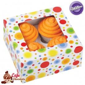 Pudełka na 4 muffiny z okienkiem Kółeczka Wilton