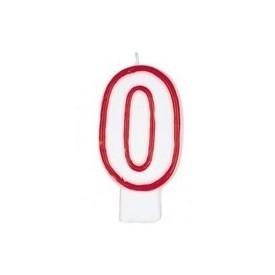 Świeczka Cyferka - Czerwony kontur 0