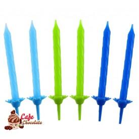 Świeczki Niebiesko Zielone 24 szt
