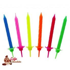 Świeczki Mix 6 Kolorów Fluorowe 24 szt