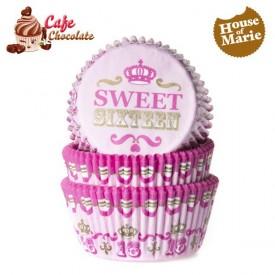 Papilotki Sweet Sixteen Różowe HoM 50 mm
