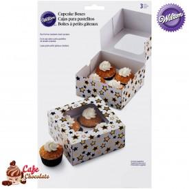 Pudełka na 4 muffiny z okienkiem Gwiazdy Wilton