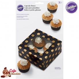 Pudełka na 4 muffiny z okienkiem Czarne w Złote Wilton