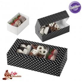 Pudełka na Mini Słodycze z okienkiem Czarne w Białe Wilton