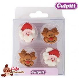 Dekoracje Boże Narodzenie Mikołaj i Rudolf 12 szt Culpitt