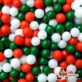 Perełki Mix Biało Czerwono Zielone nabłyszczane 5 mm