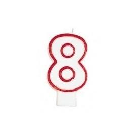 Świeczka Cyferka - Czerwony kontur 8