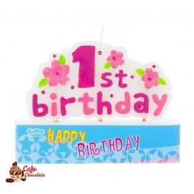 Świeczka Piker 1st Birthday Różowa