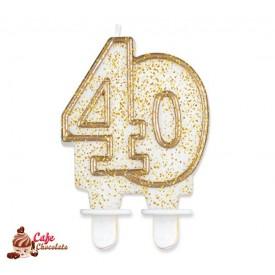 Świeczka 40 Złoty Kontur