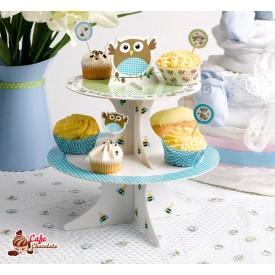 Patera Stojak na muffiny Małe Sowy Niebieski