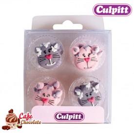 Dekoracje Koty Szare i Różowe 12 szt Culpitt
