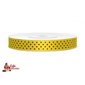Tasiemka satynowa Żółta w kropki 12 mm 25 m