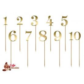 Toppersy Numery na tort złote 25-26 cm
