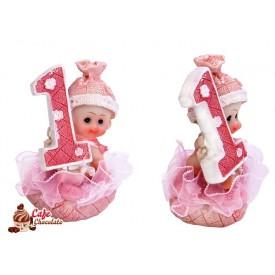 Dziewczynka pierwsze urodziny Różowa 7 cm