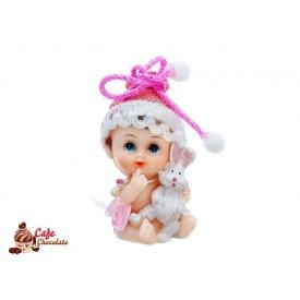 Dziewczynka z króliczkiem Różowa 6 cm