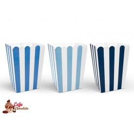 Pudełka na Słodycze/Popcorn Niebieskie Paski 6 szt