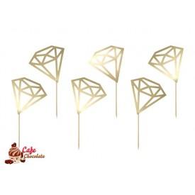 Toppersy Złote Diamenty 9 cm 6 szt