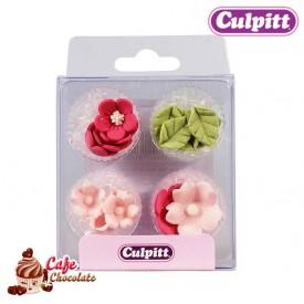Kwiatki i Listki Różowe 16 szt Culpitt