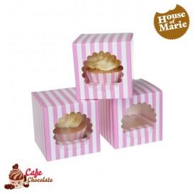 Pudełka na 1 muffinę z okienkiem Paski Różowe HoM