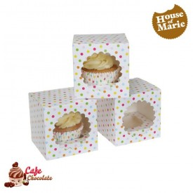 Pudełka na 1 muffinę z okienkiem Konfetti HoM