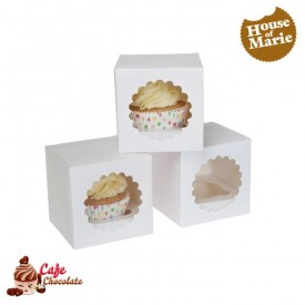 Pudełka na 1 muffinę z okienkiem Białe HoM