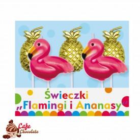 Świeczki Pikery Flamingi i Ananasy 5 szt