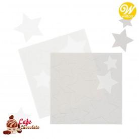 Gwiazdki Białe i Srebrne z papieru cukrowego 18 szt Wilton