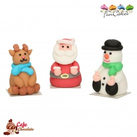 Dekoracje 3D Figurki Boże Narodzenie 3 szt FunCakes