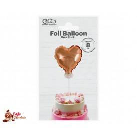 Topper Serce Różowe Złoto Balonik Foliowy 8 cm