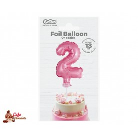Topper Cyfra 2 Różowa Balonik Foliowy 13 cm