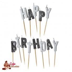 Świeczki Pikery - Happy Birthday Czarno Srebrne